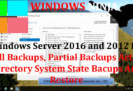 Windows Server 2016 and 2012 R2 - Full Backups Partial Backups Active Directory System State Bacups And Restore